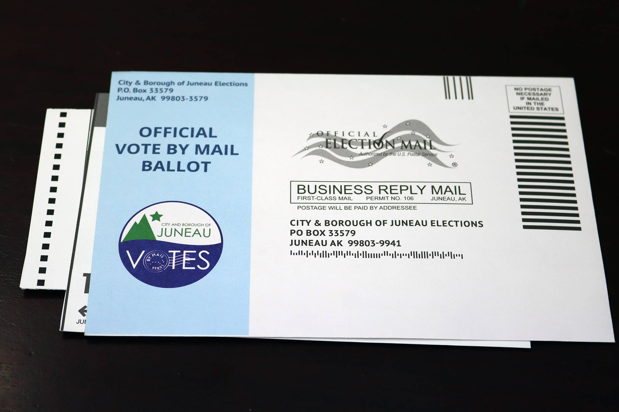 A ballot for the 2021 municipal election. On Wednesday, Will Muldoon entered the race for a seat on the Juneau Board of Public Education. He's joining the field of candidates as a write-in option, eight days after city officials mailed ballots to voters and 13 days before ballots are due back. (Ben Hohenstatt/Juneau Empire)